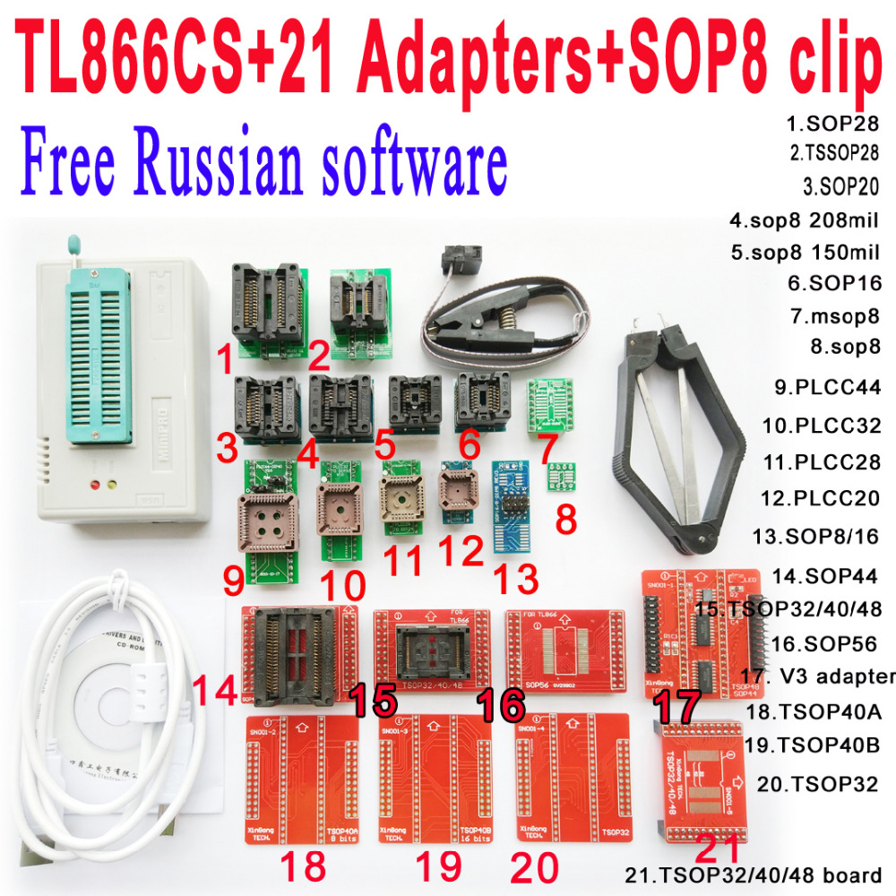 Free Russian software Original Minipro TL866CS programmer 21 adapter socket SOP8 Clip IC clamp V6