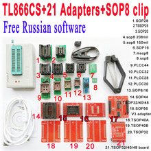 Free Russian software + Original Minipro TL866CS programmer +21 adapter socket +SOP8 Clip IC clamp V6.6 scoket Bios Flash EPROM