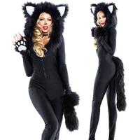 Black Fox Cosplay Costume Halloween Sexy demon animal cosplay costume Jumpsuits Set women adult cos animal costume Body Suit