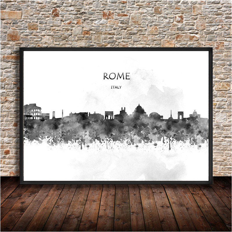 ROMEthe Capital Of Italy Poster Wall Stickers Kraft Paper Vintage Retro Print Painting Living Room Cafe Bar Decoration