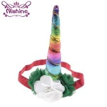 Nishine 10pcs/lot Girls Unicorn Horns Hairband Party Headdress Chiffon Flower Crown Headband Children Holiday Christmas Gift