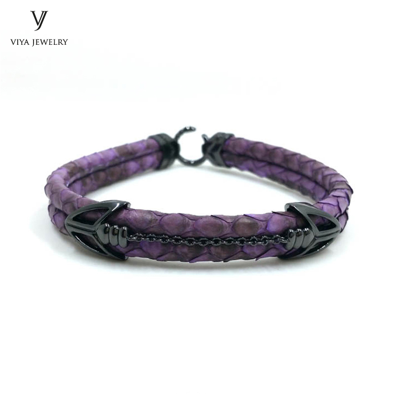 Luxury Purple Python Leather Men Bracelet 925 Sterling Silver Arrow Clasp Leather Bracelet Has High-end Gift Box Best Men Gift