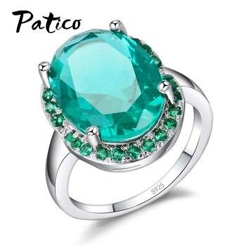 c8e9bdbb8f61 PATICO de calidad superior de plata esterlina 925 anillos de dedo brillante  Oval grande de cristal de CZ proponer aniversario de boda de regalo de las  ...