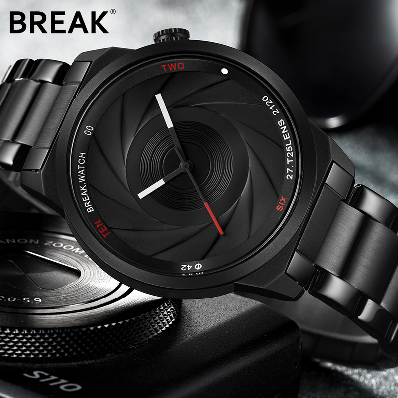 BREAK Unique Camera Style Stainless Steel Watch Men Wristwatch Clock Male 2018 Casual Fashion Sport Quartz Modern Wrist Watches golden silver transparent hollow dial quartz men wrist watch stainless steel band casual sport watches man analog male clock gif
