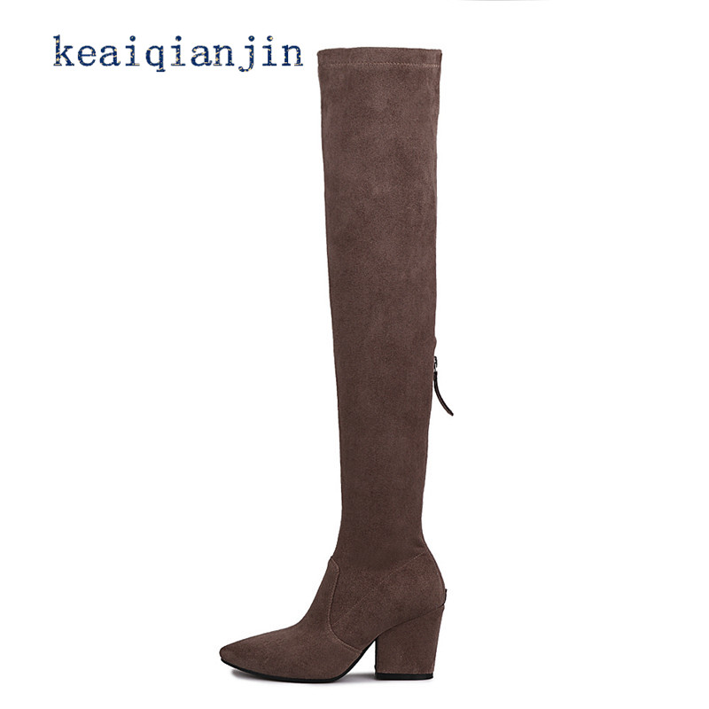 ФОТО Sheepskin High Heel Boots 2017 Winter Thick With Nubuck Leather Genuine Leather Pointed Toe Long Boots Black Gray Knee Boots