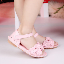 Mamimore Girls Sandals 2017 Summer New Hole PU Leather Shoes Kids Flower Princess Style Hook & Loop Rivet Sandals Pink