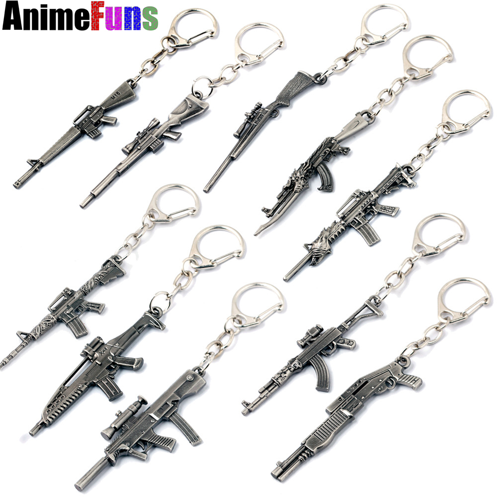 Confident Hot Game Weapon Ak47 Gun Key Chains Wholesale Key Ring Men Jewelry Pendants Keychain Chaveiro Porte Clef Free Shipping Good For Energy And The Spleen Jewelry Sets & More Key Chains