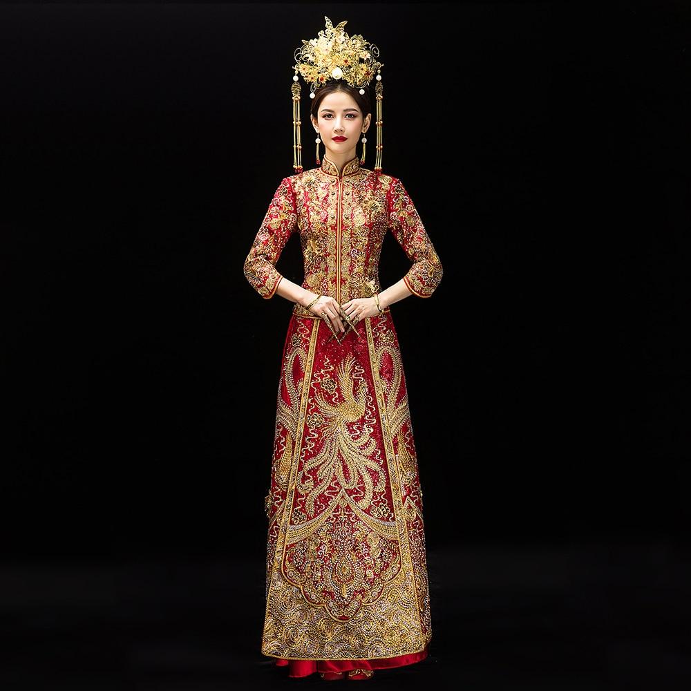 Chinese Traditional Women Wedding Dress Elegant Full Length Ancient Marriage Set Classic Mandarin Collar Cheongsam Phoenix Qipao