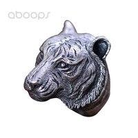 Vintage Schwarz 925 Sterling Silber Tiger Kopf Ring Schmuck für Männer Größe 8 9 10 11 Freies Verschiffen