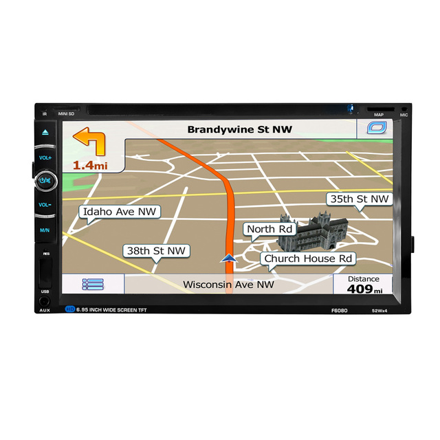 HEVXM F6080 6.95 inch Car DVD Navigation Player Car Radio Multimedia MP5 MP3 Play GPS Navigator Car navigation