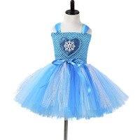 Girls Flower Tutu Dress Children Girls Cosplay Princess Elsa Dress Kids Christmas Halloween Costume Girl Birthday