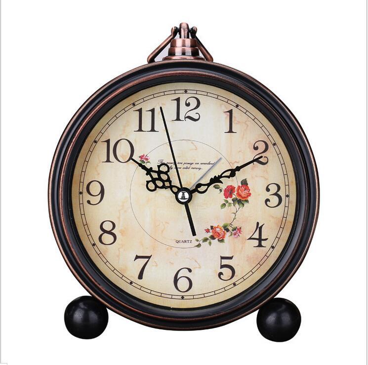 1 piece round shape Vintage Retro Alarm Clock Desktop for Kids Bedroom Silence No Ticking 7