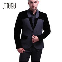 MOGU 2017 New Winter Autumn Wool Blazer Men Slim Fit Men Blazer Designs Costume Homme Contrast Color Terno Masculino Size M-5XL(China)