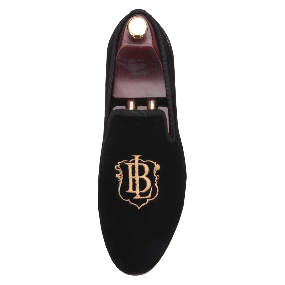 Piergitar new style fashion men loafers with LB letters gold embroidery handmade men velvet shoes party and wedding men's flat