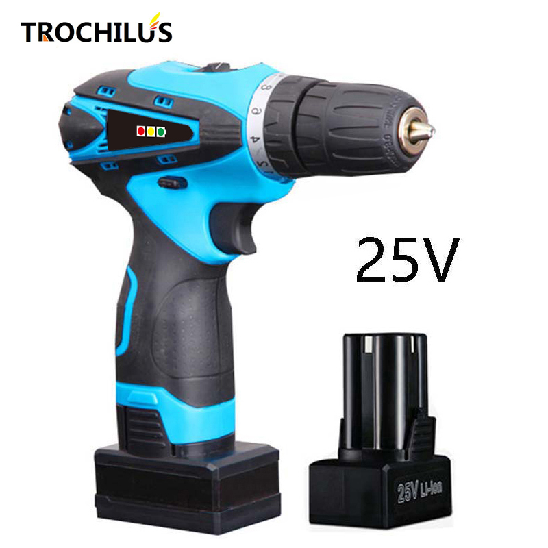 High quality power tool 25V cordless screwdriver Multifunctional electric screwdriver with lithium battery * 2 makita 18v lithium battery series tool cordless impact screwdriver 3000ipm 2300rpm
