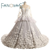 Real Photos Luxury Pearls Beaded Handmade Flowers Appliques Sheer Boat Neck Buttons Back Ball Gown Lace