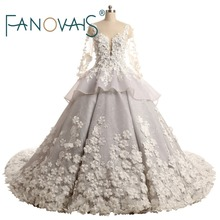 Luxury Pearls Beaded 3DFlowers Wedding Dresses 2019 Ball Gown Lace Vintage Wedding Gowns Vestido de Novia de Longe