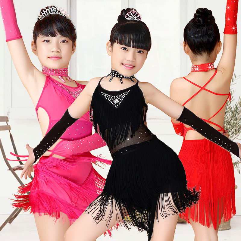 Sequin Fringe Blue Pink Black Salsa Dress Child Girls Kids Latin Dresses Girls Latin Dance Costumes Free Gloves And Accessories