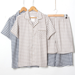 Image 3 - Mens Short sleeved Summer Cotton Yarn Nightwear Plaid Turn down Collar Men Pajama Sets Plus Size Pijama Pajamas Sleeping Suits
