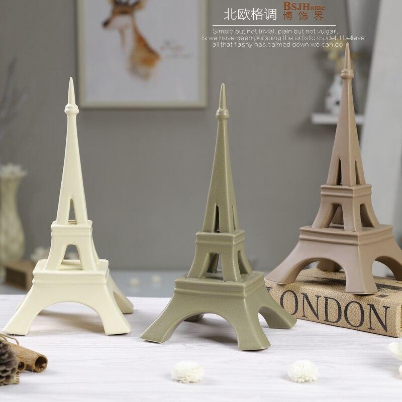 Minimalist Ceramic Creative Paris Eiffel Tower Design Home Decor Crafts Room Wedding Decoration Handicraft Porcelain Figurines In Miniatures
