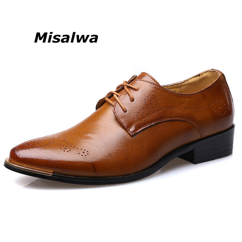 Misalwa Men's Shoes Original Leather Wingtip Brogue Oxford Handcrafted Footwear For Men Lace up Bussiness Wedding Dress Shoes