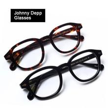 Оптические очки рамки для мужчин женщин Johnny Depp компьютер прозрачный очков бренд дизайн ацетат Винтаж Стиль коробка Q101-2