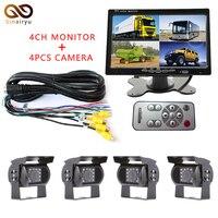 DC 12V 24V 7 LCD 4CH Video Input Car Video Monitor With 4 Pcs Rear View