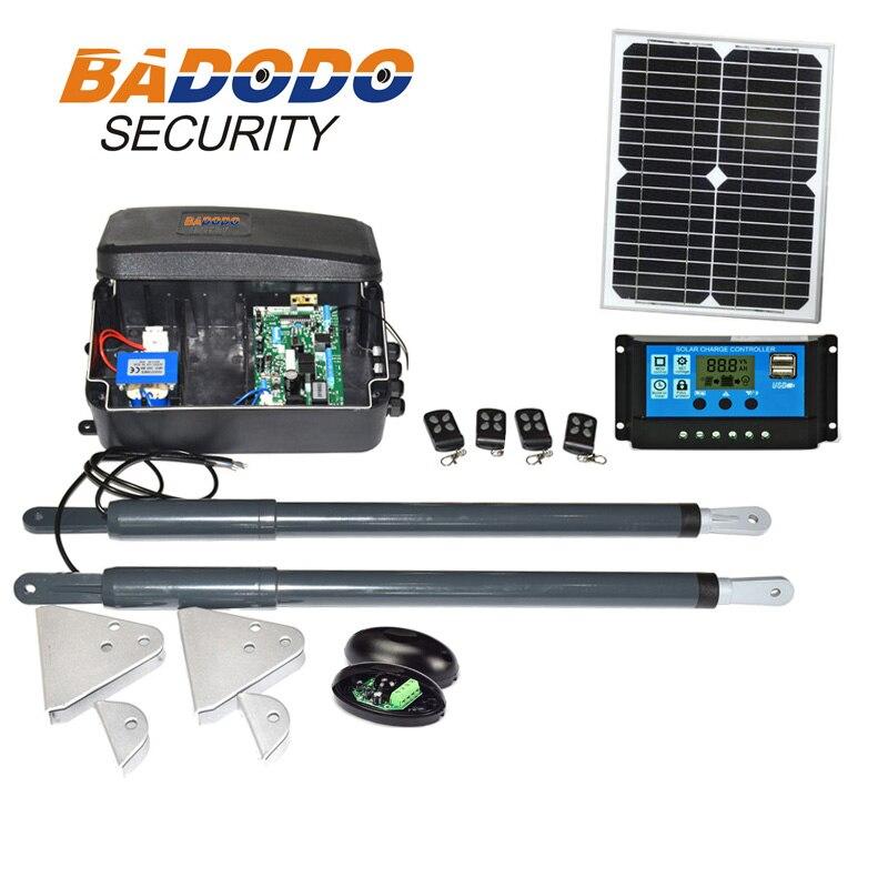 Solar system Einfahrt Elektrische 12VDC Linear Antrieb 200kg Motor Motor System Automatische GSM Schaukel Tor Opener 2 keyfobs