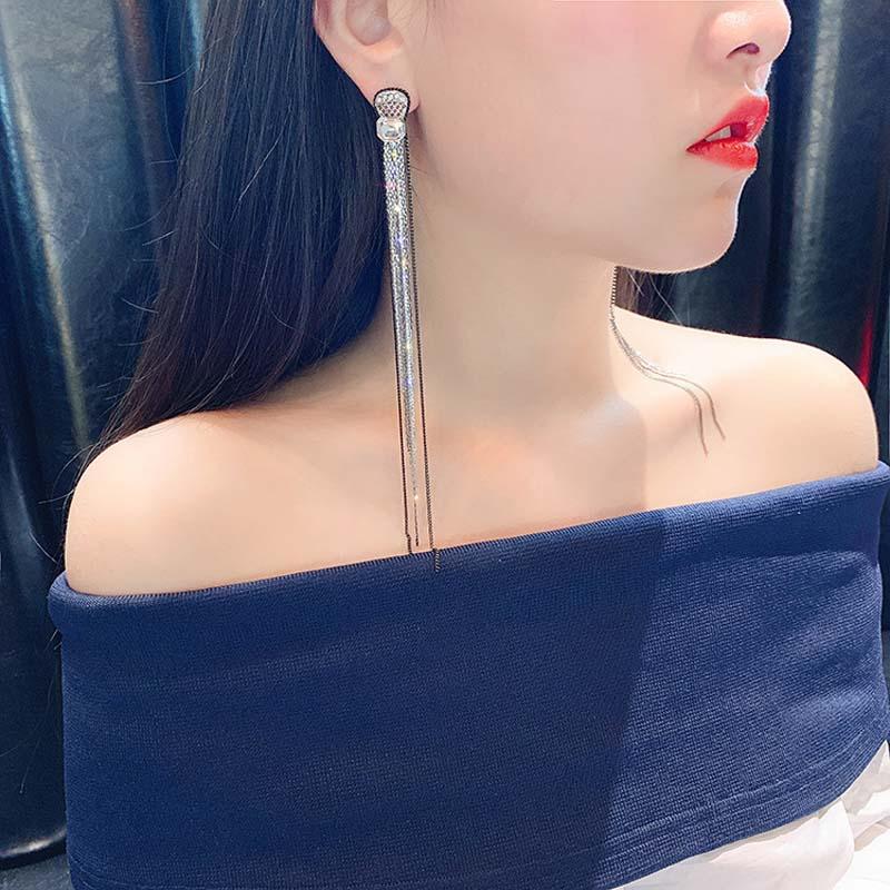 Real 925 Sterling Silver Needle Long Dangle Earrings for Women Jewelry Rhinestone Statement Female Drop Tassel Earrings