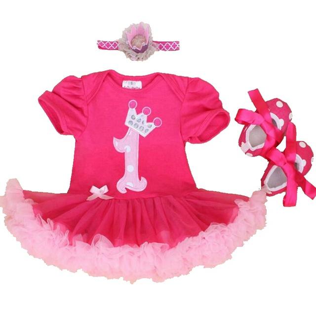 Corona de La princesa Bebé de La Muchacha primero Cumpleaños Trajes de Encaje Peleles Para Bebés Zapatos del Pesebre de La Venda Ropa de Las Muchachas 2016 Ropa Infantil