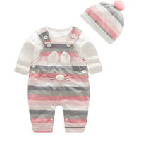 Spring Autumn Fashion Baby Clothes Pure Cotton Kids Girls Clothes Strap Set Baby Clothing With Hat