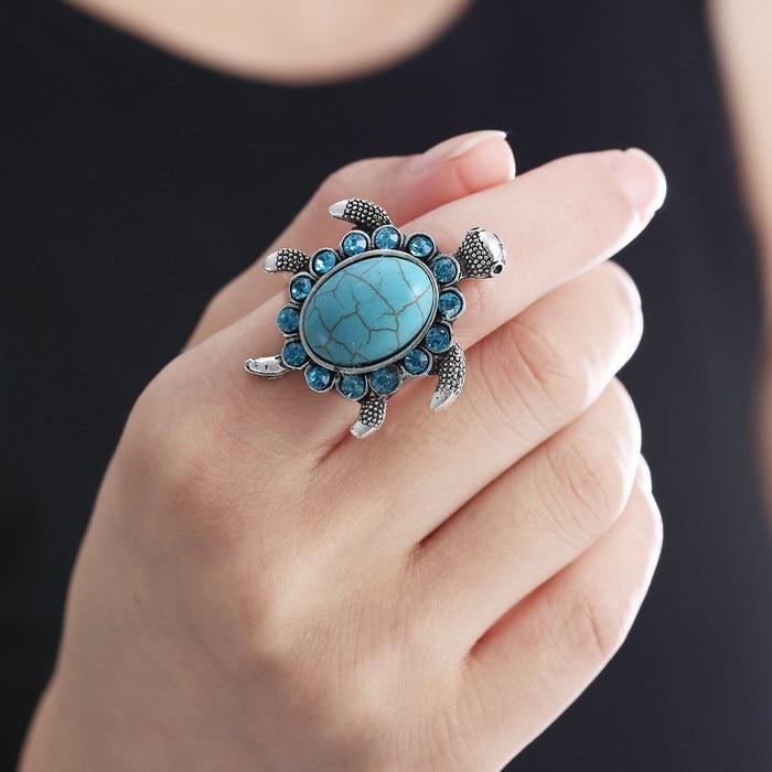 Fashion Crystal Turtle Imitation Natural Stone Ring Vintage Silver