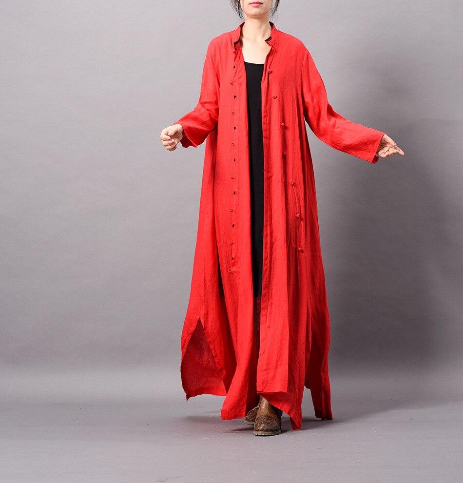 Lâche Pour Rétro Outwear Femmes rouge Vintage Broderie Poitrine Longue Unique Musulman Grande Taille Tranchée Linge Oblique Noir Robe vert 8CnSqPw5