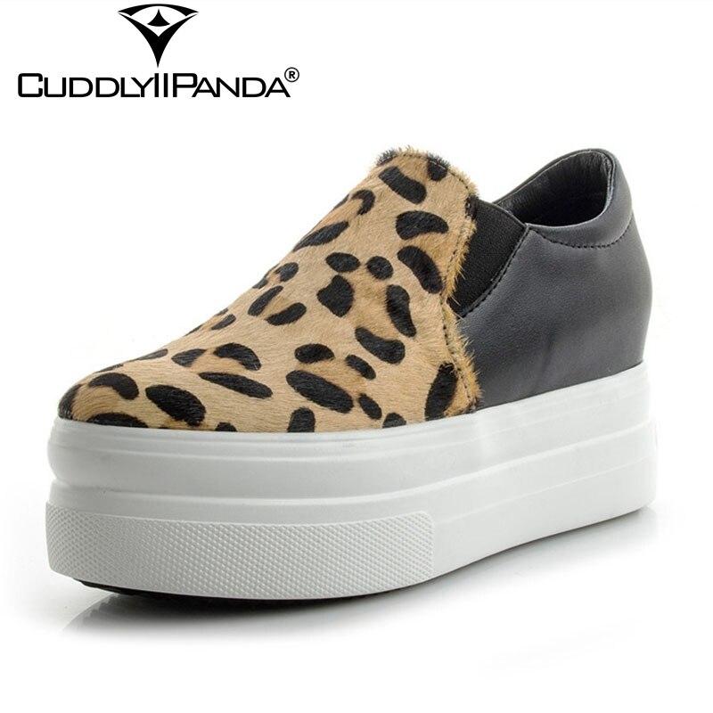 CuddlyIIPanda 2019 printemps 5 cm haute plate-forme baskets qualité mocassins crin rouge léopard femmes vulcaniser chaussures Zapatos Mujer