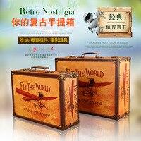European Country Creative Retro Storage Box Aircraft Suitcase Two piece Studio Photography Props Display Box Storage