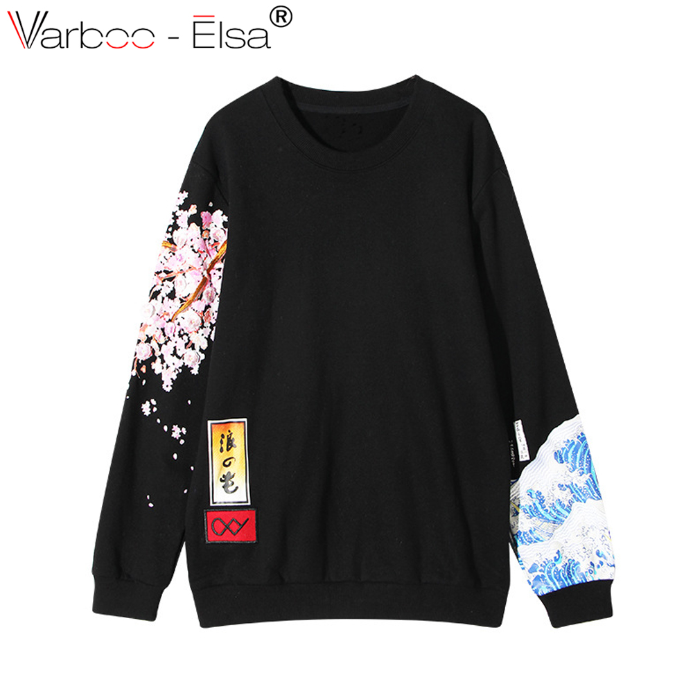 VARBOO_ELSA повседневные женские толстовки в японском стиле Толстовка утолщенная Harajuku boyfriend wind Cherry принт с длинным рукавом Пуловеры