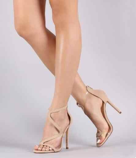 Verano mujer rojo piel de ante desnudo punta abierta corta en forma de S cremallera trasera transparente correa de PVC Patchwork fino tacones Zapatos de vestir