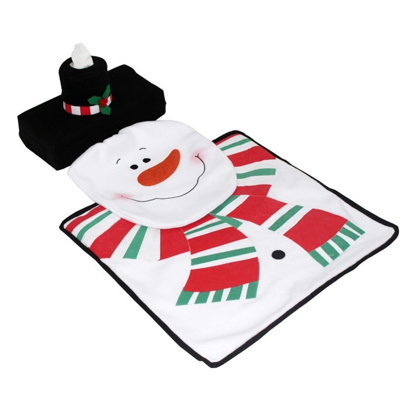 Snowman Toilet Cover Floor Mat Paper Towel Set Christmas Supplies Base Toilet Cover Bathroom Mat Set