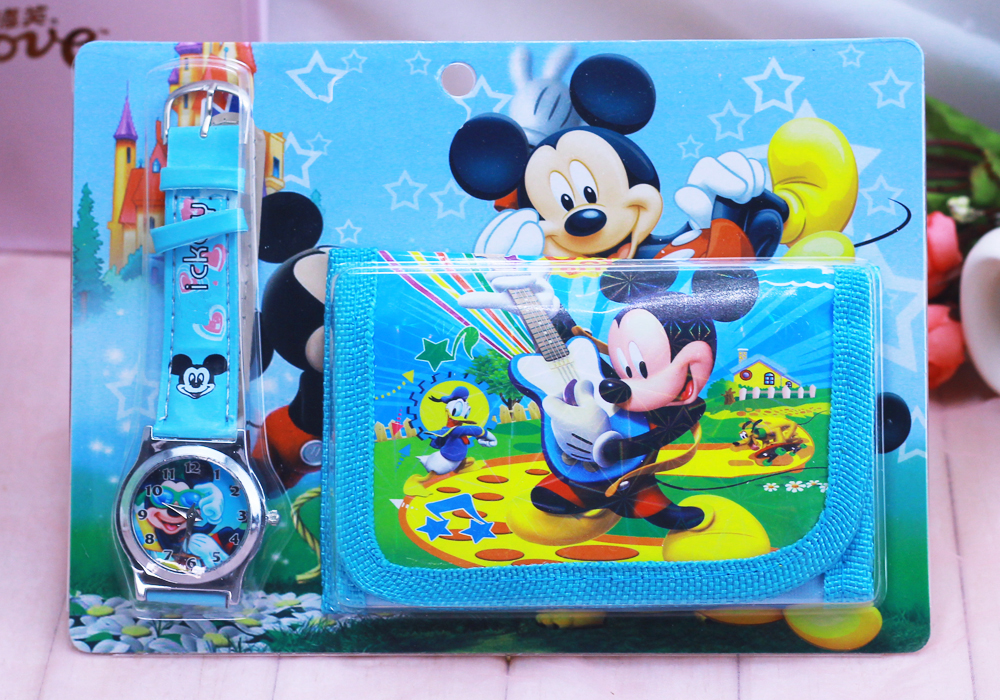 2018 New Children Cartoon Wallet Watch Set Mickey Watches Students Birthday Gifts Quartz Leather Clock