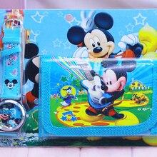 2018 New Children Cartoon Wallet Watch Set Mickey Watches