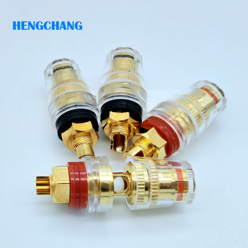 4pcs High Quality Brass Gold Plated 4mm Banana socket Terminal Binding Post for Speaker Amplifier Red and Black terminal post 20pc double gold plated binding post for 4mm banana plug power amplifier speaker