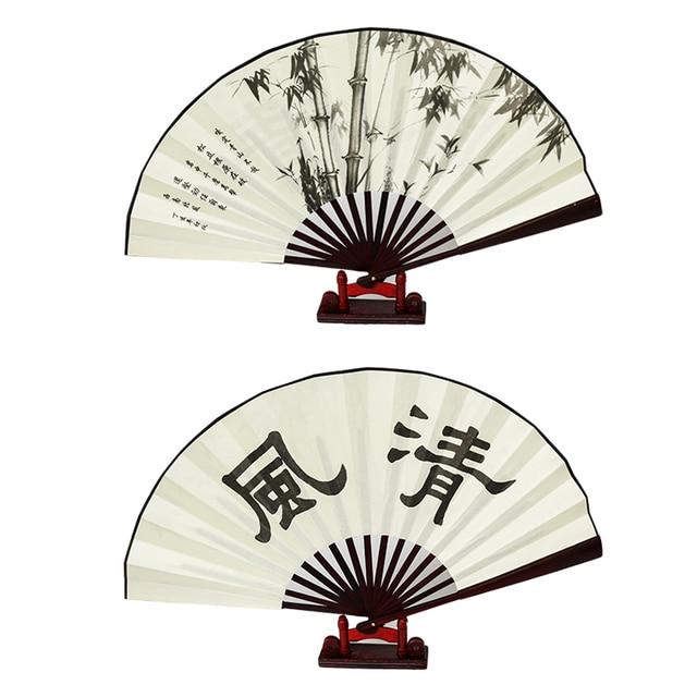 10 big bamboo folding fan men silk hand fans for wedding decoration