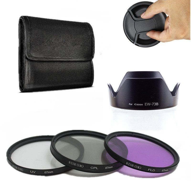 67mm UV CPL FLD Kit filtro obiettivo + paraluce EW-73B per Canon EF-S - Macchina fotografica e foto