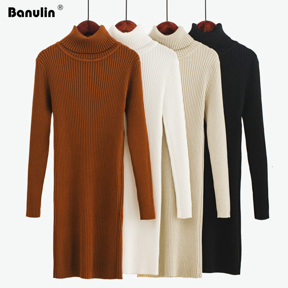 Banulin 2019 Autumn Winter Women Knitted Dress Buttons Sweater Dresses Lady Slim Bodycon Long Sleeve Bottoming Dress Vestidos