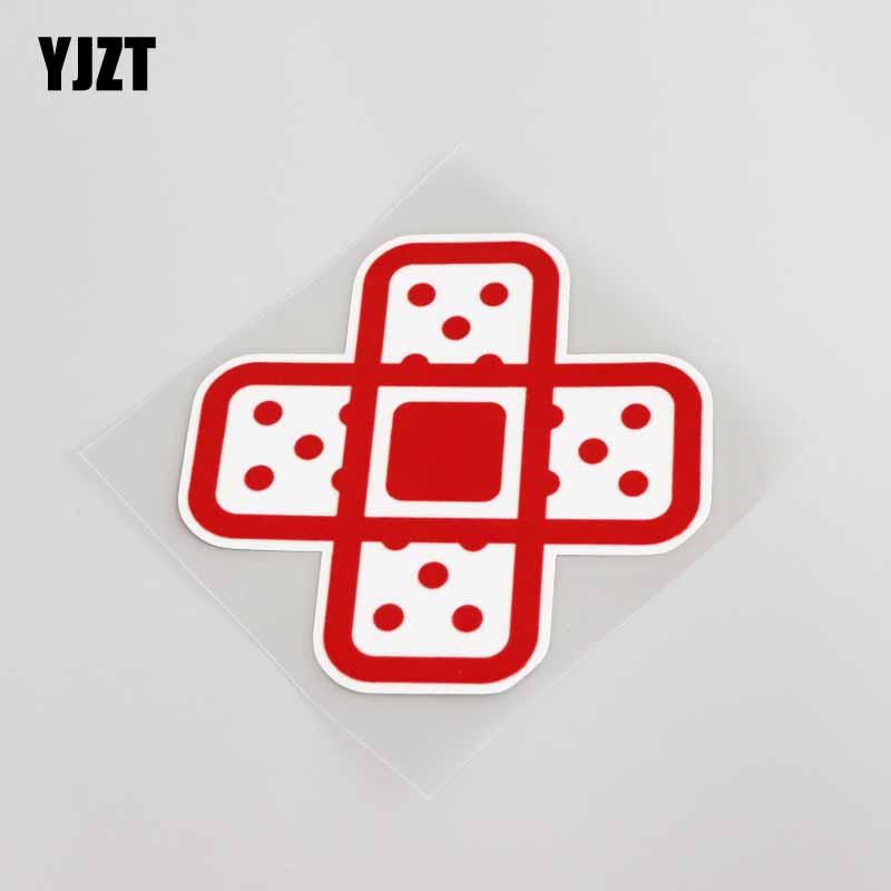 YJZT 9.8CM*10CM Cartoon Red Band Aid Fun Motorcycles Car Sticker Decal Decoration 13-0017
