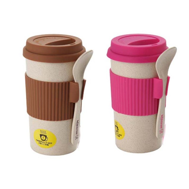 2 Colors Coffee Cups Travel Mug With Spoon Easy Go Cup Portable For Outdoor