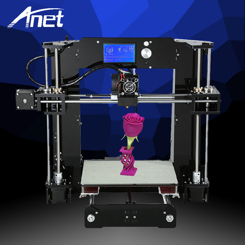 Anet A6 3D Stampante Ad Alta Precisione Prusa i3 Reprap Facilità di Montaggio 3D Stampante Stampante di Alta Qualità A Buon Mercato 1.75mm Filamento kit Focolaio