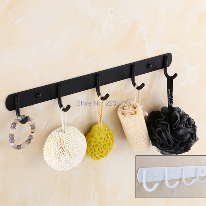 ФОТО Smesiteli 2017 Promotions Bathroom Accessories SUS304 Matte Black Or White Finish Wall Mounted 5  Hooks Clothes Towel Robe Hook