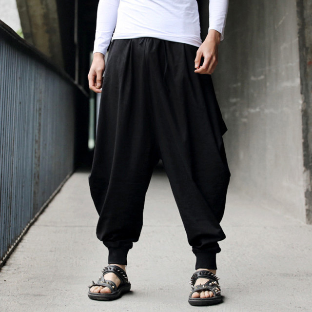Men Women Japanese Samurai Style Boho Casual Low Drop Crotch Loose Fit Harem Baggy Hakama Capri