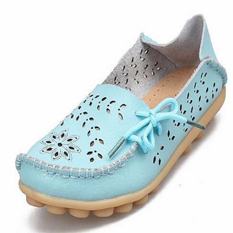 Women's Casual Genuine Leather Shoes Woman Loafers Slip-On Female Flats Moccasins Ladies Driving Shoe Cut-Outs Mother Footwear 2017 autumn fashion real leather women flats moccasins comfortable summer ladies shoes cut outs loafers woman casual shoes st181